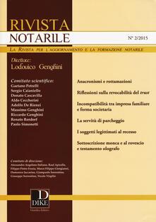 Teamforchildrenvicenza.it Rivista notarile (2015). Vol. 2 Image