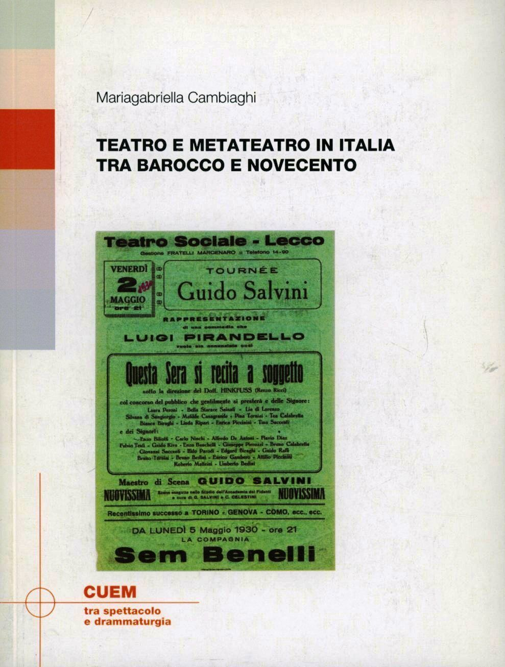 Teatro e metateatro in Italia tra barocco e Novecento