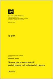 Foto Cover di Norme per la redazione di tesi di laurea e di relazioni di ricerca, Libro di Benedetta Terenzi, edito da Alinea