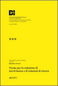 Libro Norme per la redazione di tesi di laurea e di relazioni di ricerca Benedetta Terenzi
