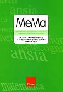 Ristorantezintonio.it MeMa. Valutare la metacognizione, gli atteggiamenti negativi e l'ansia in matematica. Con CD-ROM Image