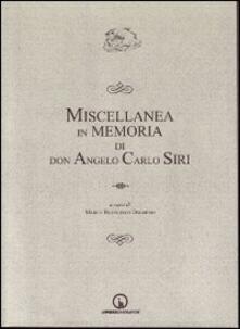 Miscellanea in memoria di don Angelo Carlo Siri - copertina