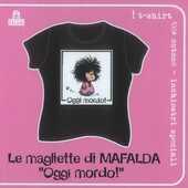 Idee regalo T-Shirt Mafalda a maniche corte, taglia M. Nero. Oggi mordo! Magazzini Salani