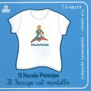 T-Shirt Piccolo Principe a maniche corte, donna, taglia M. Bianco. Il principe col mantello