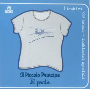 T-Shirt Piccolo Principe a maniche corte, taglia S. Grigio. Il prato