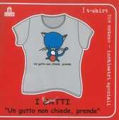 Idee regalo T-Shirt Gatti a maniche corte, taglia M. Un gatto non chiede, prende. Grigio Magazzini Salani