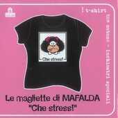 Idee regalo T-Shirt Mafalda a maniche corte, taglia M. Nero. Che stress! Magazzini Salani