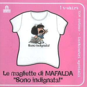 T-Shirt Mafalda a maniche corte, taglia S. Bianco. Sono indignata!