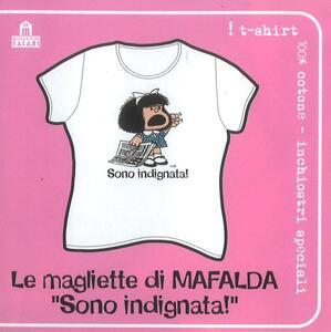 T-Shirt Mafalda a maniche corte, taglia M. Bianco. Sono indignata!