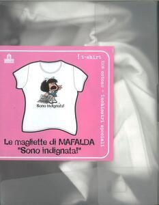 T-Shirt Mafalda a maniche corte, taglia M. Bianco. Sono indignata! - 3