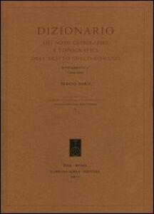 Dizionario dei nomi geografici e topografici dell'Egitto greco-romano. 4º supplemento (2002-2005)