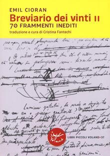 Breviario dei vinti II. 70 frammenti inediti - Emil M. Cioran - copertina