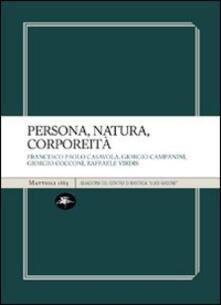 Persona, natura, corporeità - copertina