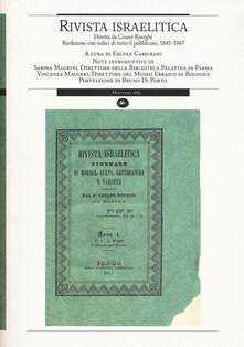 Rivista israelitica. Riedizione con indici di tutto il pubblicato 1845-1847 - copertina