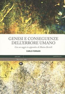 Genesi e conseguenze dell'errore umano - Carlo Fornari - copertina