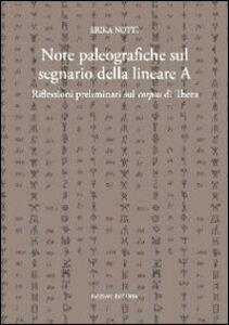Note paleografiche sul segnario della lineare A. Riflesioni preliminari sul corpus di Thera