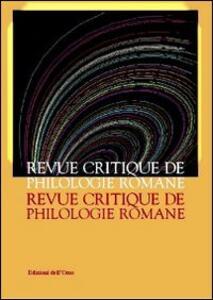Revue critique de philologie romane (2011-2012)