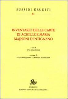 Inventario delle carte di Achille e Maria Majnoni d'Intignano - copertina