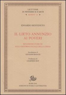 Il lieto annunzio ai poveri. Riflessioni storiche sulla dottrina sociale della Chiesa - Edoardo Benvenuto - copertina
