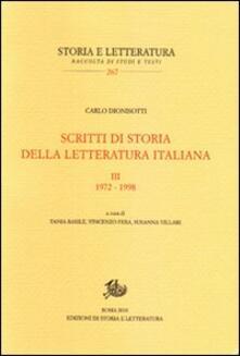 Scritti di storia della letteratura italiana. Vol. 3: 1972-1998. - Carlo Dionisotti - copertina