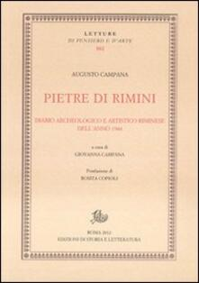 Pietre di Rimini. Diario archeologico e artistico riminese dell'anno 1944 - Augusto Campana - copertina