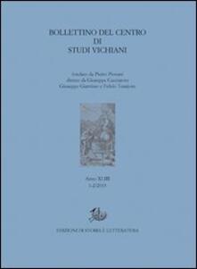 Bollettino del Centro di studi vichiani (2013) vol. 1-2. Vol. 43 - copertina
