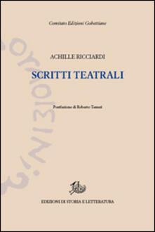 Scritti teatrali - Achille Ricciardi - copertina