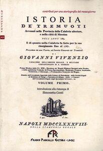 Istoria de' Tremuoti. Avvenuti nella Provincia della Calabria ulteriore e nella città di Messina. 1783