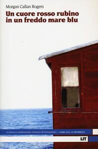 Un cuore rosso rubino in un freddo mare blu