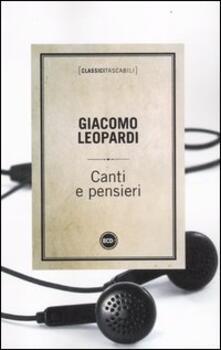 Canti e pensieri -  Giacomo Leopardi - copertina