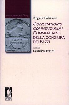 Coniurationis commentarium. Commentario alla congiura dei pazzi - Angelo Poliziano - copertina