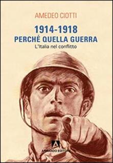 1914-1918. Perché quella guerra. L'Italia nel conflitto - Amedeo Ciotti - copertina