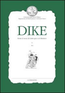 Radiospeed.it Dike. Rivista di storia del diritto greco ed ellenistico (2012). Vol. 15 Image