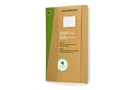 Cartoleria Taccuino Evernote Moleskine large a quadretti con Smart Stickers. Set da 2 Moleskine