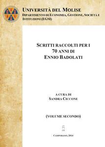 Scritti raccolti per i 70 anni di Ennio Badolati. Vol. 2 - Sandra Ciccone - copertina