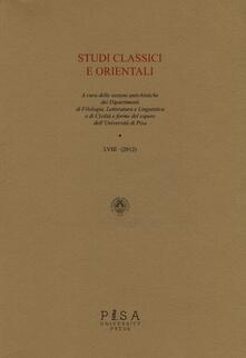 Osteriacasadimare.it Studi classici e orientali (2012). Vol. 58 Image