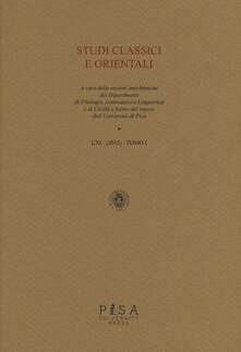 Mercatinidinataletorino.it Studi classici e orientali (2015). Vol. 61\1 Image