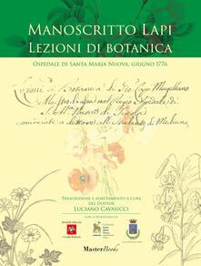 Tegliowinterrun.it Manoscritto Lapi. Lezioni di botanica. Ospedale di Santa Maria Nuova, giugno 1776 Image