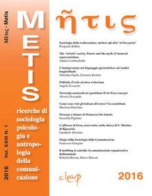 Metis. Ricerche di sociologia, psicologia e antropologia della comunicazione (2016). Vol. 23 - copertina