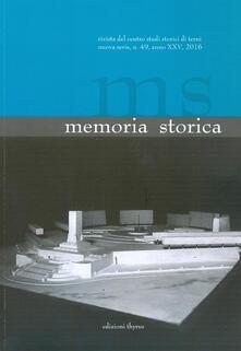 Memoria storica. Vol. 49 - copertina