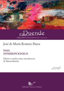 Haia. Interrupciones II - José M. de Romero Barea - copertina