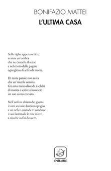 L' ultima casa - Bonifazio Mattei - copertina