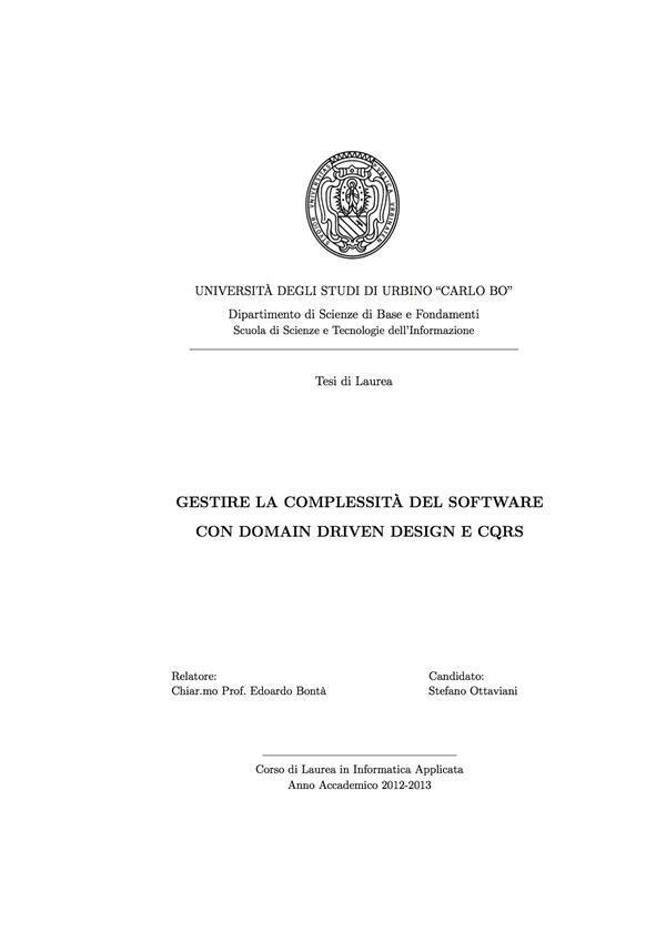 Gestire La Complessita Del Software Con Domain Driven Design E Cqrs