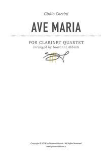 Giulio Caccini Ave Maria for Clarinet Quartet