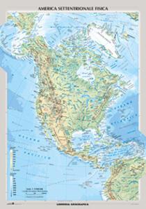 Nord America Fisica E Politica Carta Murale Libro Libreria