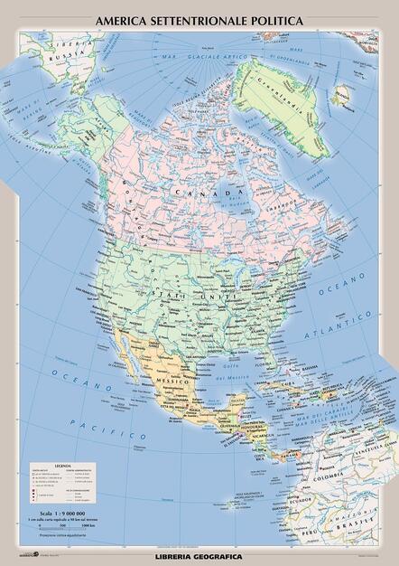 Stati Uniti Cartina Fisica E Politica.Mappa Fisica America Del Nord