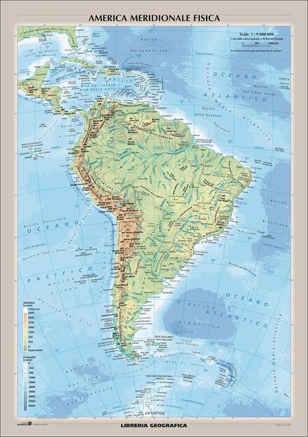 Marche Cartina Geografica Politica.Sud America Fisica E Politica Carta Murale Libro Libreria Geografica Ibs