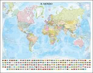 Planisfero Politico Con Bandiere Tubo Libro Libreria Geografica