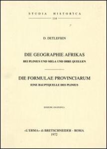 Die Geographie Afrikas bei Plinius und Mela und ihre Quellen (1908) - D. Detlefsen - copertina