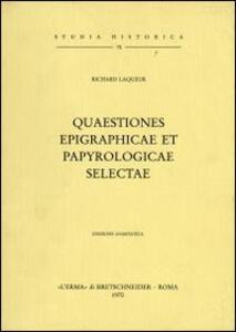 Quaestiones epigraphicae et papyrologicae selectae (1904)